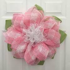 Paper Mesh Flower Wreath Deco Mesh Flower by DecoMeshWreathWorks Sunflower Burlap Wreaths, Burlap Flowers, Wreath Crafts, Diy Wreath, Wreath Burlap, Wreath Making, Wreath Ideas, Easter Wreaths, Holiday Wreaths