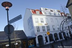 Laugavegur, the main street of Reykjavik, with the rainbow flags. Iceland