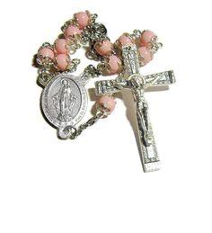 Auto Rosary, Catholic Rosary, One Decade Rosary, Travel Rosary, Pink Rosary, Bead Caps, Miraculous Center by JMRosariesandGifts on Etsy