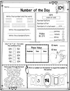 Number of the Day, First Grade Math TEKS ~February~NO PREP, JUST PRINT