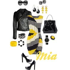 Dorothy Perkins dress, Diesel Black Gold jacket, Lulu Guinness bag, Vince Camuto pumps, YSL sunglasses, Dooney & Bourke watch, Erickson Beamon ring & your choice of bracelets and earrings