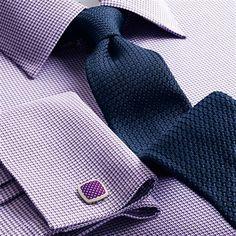Luxury slim plain navy grenadine tie