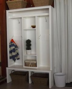 DIY Entryway/Mudroom Cabinet - Think I could convince my hubby to make me one of these? Diy Cabinets, Mudroom Cabinets, Furniture, Home, Cabinet, Locker Designs, White Cabinets, Mudroom Decor, Home Decor