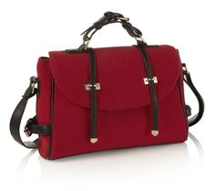 CLASSY RED BLACK FELT FABRIC LEATHER LADIES SATCHEL HANDBAG GOLD DETAIL NEW IN