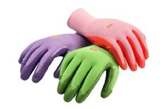 G & F Women's Garden Gloves, nitrile coated work gloves, assorted colors. Women's Large, 6 Pair Pack: Women's Garden Gloves - Nitrile Coated Knit Gloves for wet and muddy gardening conditions. Includes: pink, purple and green.