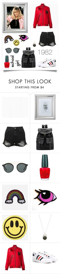 """BACK TO '80s!!!!"" by kskafida ❤ liked on Polyvore featuring BD Fine Wallcoverings, Lawrence Frames, Topshop, Ray-Ban, OPI, Hipstapatch, Big Bud Press, Accessorize, Nicopanda and adidas"