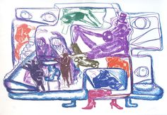"""Untitled, by Bjarne Melgaard. In this ten-color lithograph made exclusively for the ICA, Melgaard showcases motifs from """"A House to Di. Visual Arts Center, Institute Of Contemporary Art, Walker Art, London Art, Artist At Work, Art For Sale, Unique Art, New Art, Modern Art"""