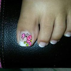 Manicure Y Pedicure, Nail Designs, Tattoos, Ideas Para, Nail, Enamel, Flower, Dresses, Simple Toe Nails