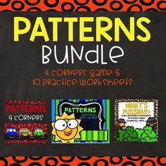 3.0A.9 Patterns BUNDLE, task cards, 4 corners game, and worksheets