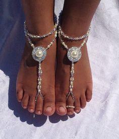 Bridal Barefoot Sandals Swarovski Crystals Pearls Bridal Jewelry Destination Wedding Beach Wedding