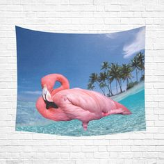 "Flamingo and Palms Cotton Linen Wall Tapestry 60""x 51"""