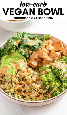 This low-carb high-protein vegan meal offers a lower-carb option that's high in protein and healthy fats. Easy to make, can be gluten-free, oil-free and nut-free, features cabbage, tofu, broccoli, kale and avocado. Low Carb High Protein, High Protein Vegan Recipes, Tofu Recipes, Low Carb Recipes, Vegetarian Recipes, Dinner Recipes, Vegan Keto, Low Carb Vegan Diet, Diabetic Recipes