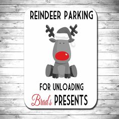 Personalised wooden reindeer parking christmas decoration sign plaque: Amazon.co.uk: Kitchen & Home