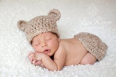 This is my son Austin!  :). Crochet baby bear hat top bottom set by 4thgenerationdesigns