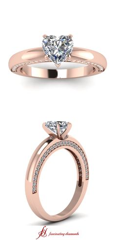 Adorned Verve Ring ||  Heart Shaped Diamond Petite Rings With White Diamonds In 14k Rose Gold