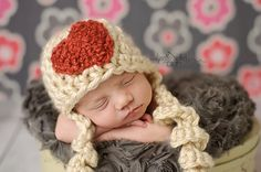 Heart Valentines Hat with curly tassles by thymeline on Etsy, $20.00