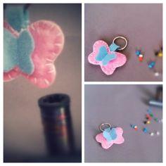 Felt key_chain pink cute butterfly. #handmade #keyrings #mandastic