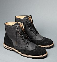 07ebd0ee30 The Best Men s Shoes And Footwear   Black Suede Goat Leather wingtip boot  with oil finish. Worker last