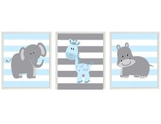 Nursery Art  Elephant Giraffe Hippo Safari Wall Art -Blue Gray Stripes  Print Set 3 8x10 - Baby Boy Children Kid Room Home Decor Wall Art