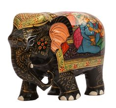 """Bulk Wholesale Handcrafted 8"""" Eucalyptus Wood Statue / Sculpture of Elephant Enhanced with Bright Hand-Painted Stories of Indian Culture – Rich Home Décor"""