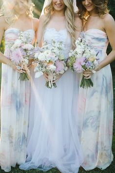 watercolor dresses and matching bouquets photo by Bek Grace http ...