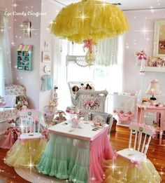 frilly toddler girl room, a little too much stimulation, but some of these are great!