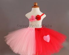 Red and Pink Valentine's Day tutu, Two tone, by SweetPetiteTutu on Etsy