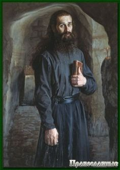 The suit of a monk of the 18th - the 19th centuries, Eastern Orthodox, Russia. It is a black gown sewed from cloth, with a wide leather belt on which monks wear rosary, keys, etc. This suit differs from the one that monks wear in medieval Russia, it has no embroidery and does not cover a face of a man. Nowadays the suit of monks is exactly the same