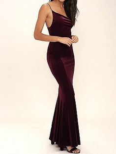 Shop Burgundy Spaghetti Strap Backless Velvet Maxi Dress from choies.com .Free shipping Worldwide.$26.9