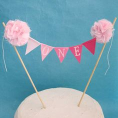 Cake banner smash cake  pink ombre birthday by Hartranftdesign, $24.00