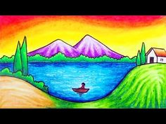 How to draw easy and simple scenery for beginners with oil pastels. Drawing a simple scenery of lake and mountain step by step. How to draw easy scenery. Drawing Pics For Kids, Landscape Drawing For Kids, Scenery Drawing For Kids, Cute Little Drawings, Easy Nature Drawings, Oil Pastel Drawings Easy, Colorful Drawings, Crayon Drawings, Art Drawings