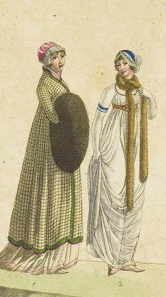 Fashion print (in colour) from 'Journal Fur Fabrik Manufaktur, Handlung und mode', 1801. ModeMuseum Provincie Antwerpen, Public Domain