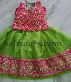 Green Maggam Work Blouse - Indian Dresses The Effective Pictures We Offer You About Blouse soiree A quality picture can tell you many things. You can find the most beautiful pictures that can be prese Kids Dress Wear, Kids Gown, Dresses Kids Girl, Kids Outfits, Baby Dresses, Kids Wear, Wedding Dresses, Kids Indian Wear, Kids Ethnic Wear