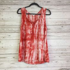 5926115600 Beach Lunch lounge tunic top M Tiedye red/pink/orange embellished tassel  summer #