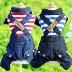Striped Dog Clothes Spring And Autumn Pet Clothing Dog Jumpsuits Jean Blue Red