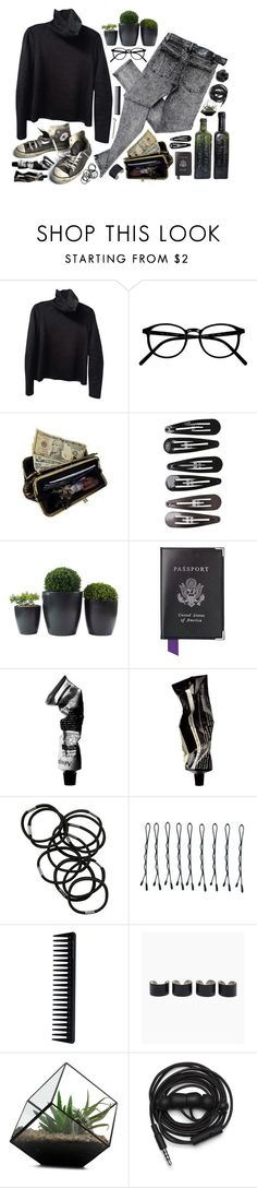 """""""on wednesdays we wear black"""" by hanadarkos ❤ liked on Polyvore featuring Zara, Cheap Monday, Converse, AmeriLeather, Clips, Aspinal of London, Aesop, Monki, BOBBY and GHD"""