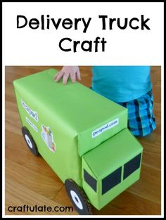 Make a toy delivery truck from cardboard boxes, paper and card.