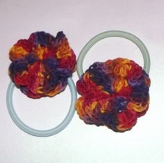 Rainbow coloured Flower Hair Ties Set of Two - Ready To Ship £2.00
