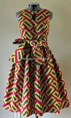 african fashion ankara Quirky Fall Dress African Wax Print Keyhole Bodice Fit and Flare Cotton Hot Pink Yellow Black Geometric Print With Pockets and Belt. African Fashion Ankara, Ghanaian Fashion, Latest African Fashion Dresses, African Inspired Fashion, African Dresses For Women, African Print Dresses, African Print Fashion, Africa Fashion, African Attire