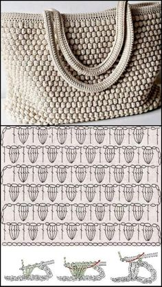 Receba lindas receitas de bolsas, knitting for babies, Crochet Tote, Crochet Handbags, Crochet Purses, Crochet Chart, Free Crochet, Crochet Stitches Patterns, Crochet Patterns For Beginners, Knitting Patterns, Knit Stitches