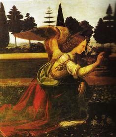 Arcangel Gabriel, la Anunciación de Leonardo Davinci