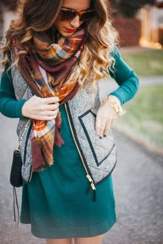 #fall #fashion / longsleeve dress + tartan scarf