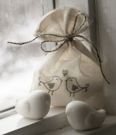 Love Bird Glycerin Soaps in a stamped muslin bag and tied with twine.