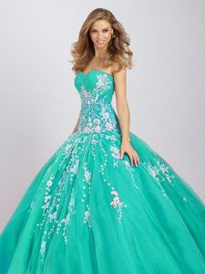 Noble Turquoise Sweetheart Sweet Sixteen Dress with Appliques in Grozny