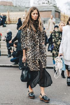 Lfw London Fashion Week Fall 16 Street Style Collage Vintage Leopard Coat Gucci Clogs
