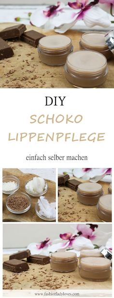 DIY: Chocolate lip care yourself - fashion lady loves- Schoko Lippenpflege selber machen – Fashionladyloves Make your own lip balm with chocolate flavor – easy and quick DIY – a special gift idea Diy Beauty, Beauty Hacks, E Cosmetics, Skin Structure, Chocolate Flavors, Chocolate Diy, Lip Care, Care Care, How To Apply Makeup