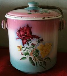 Brilliantly colored roses enamelled bucket with lid