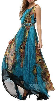 Wantdo Womens Peacock Printed Bohemian Summer Maxi Dress Plus size (US 18 )4XL