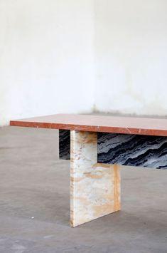 Bench in colored marble by the Belgian duo Muller Van Severen - Journal du Design Marble Furniture, Design Furniture, Modern Furniture, Furniture Inspiration, Design Inspiration, Daily Inspiration, Esstisch Design, Vintage Design, Interior Design Living Room