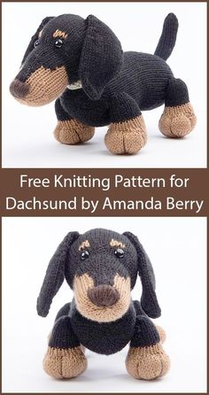 Free Knitting Pattern for Dachshund by Amanda Berry – Toy puppy dog softie. Size… Free Knitting Pattern for Dachshund by Amanda Berry – Toy puppy dog softie. Size: x Part of the The Dera-Dogs collection. Designed by Amanda Berry. A kit is also a Baby Knitting Patterns, Knitted Doll Patterns, Knitted Dolls, Crochet Patterns, Knitted Baby, Stitch Patterns, Chat Crochet, Crochet Toys, Crochet Birds